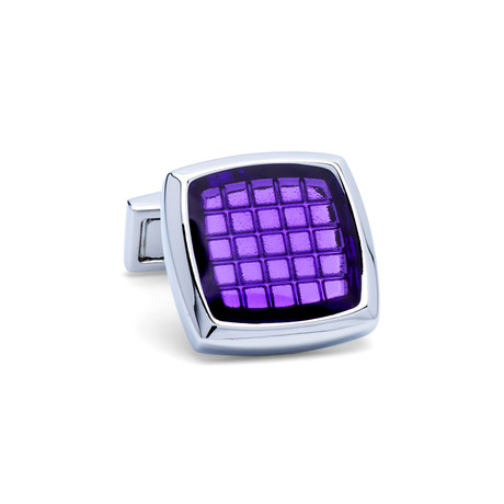 Square Colored Glass Grid Cufflinks // Silver + Purple