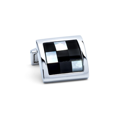Squared Enamel + Mother of Pearl Checker Cufflinks // Black + Silver