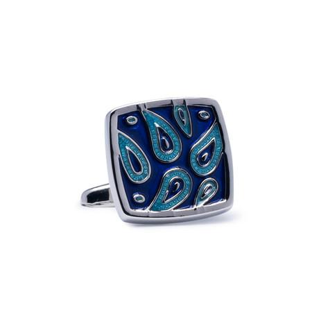 Square Paisley Design Cufflinks // Silver + Blue