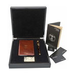Vitruvian Man Writing Kit + Brown Leather Notebook + Fountain Pen