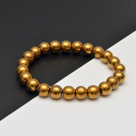Hematite Beaded Bracelet // Gold