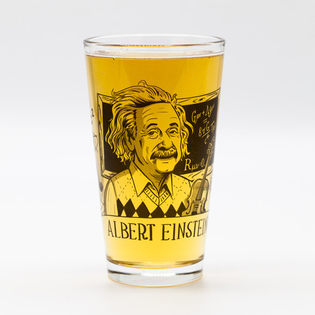 Heroes of Science // Pint Glass Set // Tesla + Einstein + Darwin + Lovelace