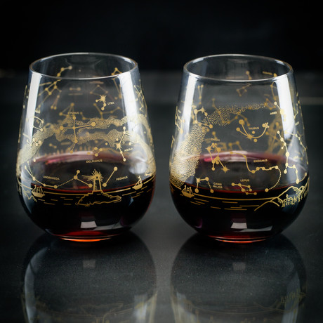 Night Sky // Stemless Wine Glass Set