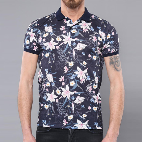 Birch Floral Short Sleeve Polo Shirt // Navy (L)