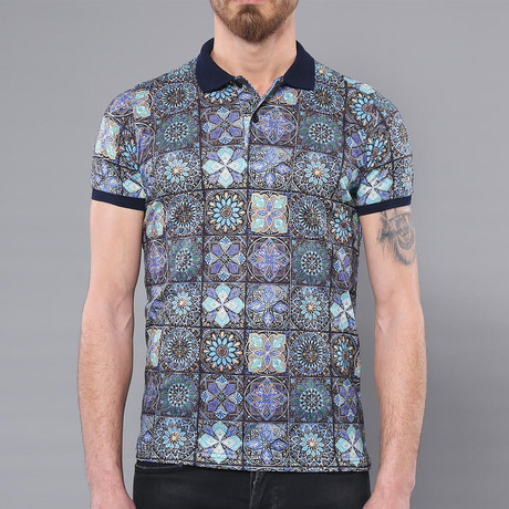 Bear Floral Short Sleeve Polo Shirt // Multicolor (2XL)