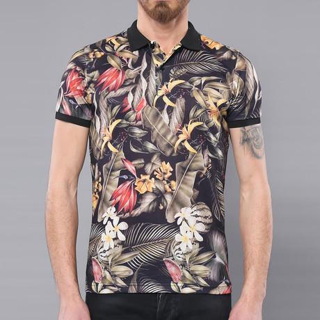 Forrest Floral Short Sleeve Polo Shirt // Multicolor (L)