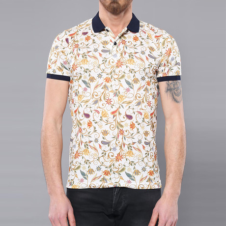 Wolfe Floral Short Sleeve Polo Shirt // Beige (L)