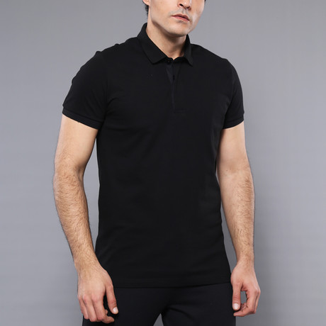 Skye Solid Short Sleeve Polo Shirt // Black (XL)