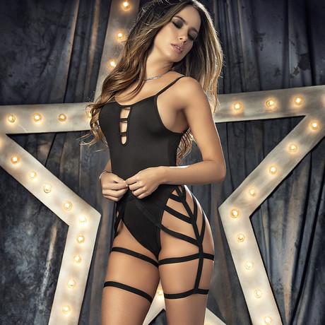 Alessandra Strappy Bodysuit // Black (S)