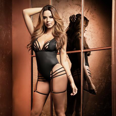 Alana Bodysuit + Garter Straps // Black (S-M)