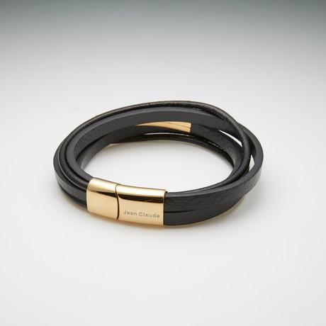 Jean Claude Jewelry // Double Wrap Leather + Steel Bracelet (Black + Gold)