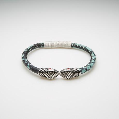 Dell Arte // Snake Charm + Snake Print Leather Bracelet // Multicolor