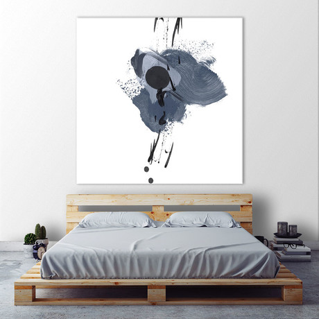 "Blue & Black Splash II (54""W x 54""H x 1.25""D)"
