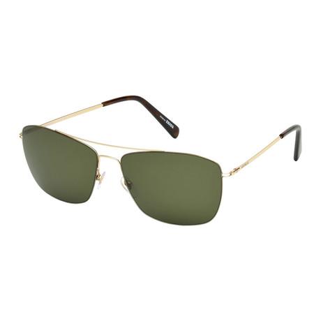 Montblanc // Men's Ultra Lightweight Navigator Sunglasses // Gold + Green