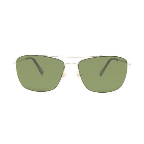 Montblanc Men's Ultra Lightweight Navigator Sunglasses // Gold + Green