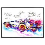 Autographed Limited Edition Canvas Print // Delorean // Cast