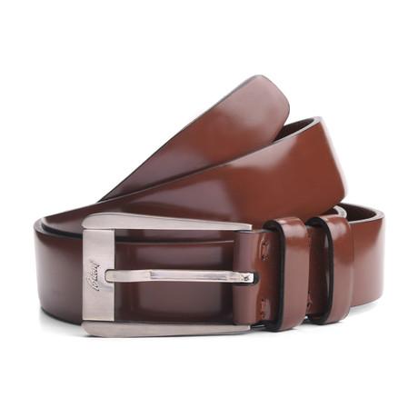 "Bellamy Leather Belt // Brown (33"" Waist)"