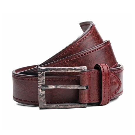 "Wells Leather Belt // Burgundy (33"" Waist)"
