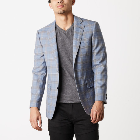 Via Roma // Classic Fit Sport Jacket // Light Blue Check (US: 54R)