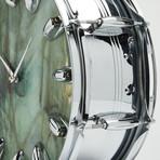 "Slingerland Snare Drum Wall Clock 14"" // Chrome + Green Wave"