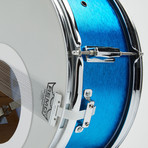 Lyle Snare Drum Wall Clock // Blue Satin + Blue And White Wave