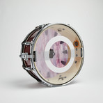 "Pearl Snare Drum Wall Clock 13"" // Red Sparkle + Maroon, White And Blue Wave"