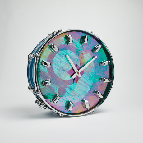 "Pearl Snare Drum Wall Clock 14"" // Blue Pearl + Iridescent"