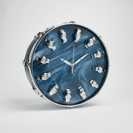 "Tama Snare Drum Wall Clock 14"" // Chrome + Blue Wave"