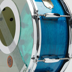"""Pearl Snare Drum Wall Clock 14"""" // Blue Pearl + Iridescent"""