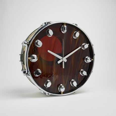 "Pacific Snare Drum Wall Clock 14"" // Brown Wave"