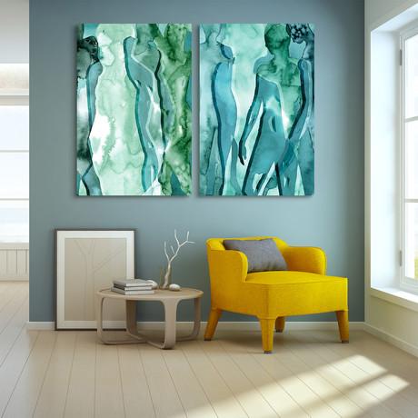 Water Women // Reverse Printed Tempered Art Glass (Water Women I)