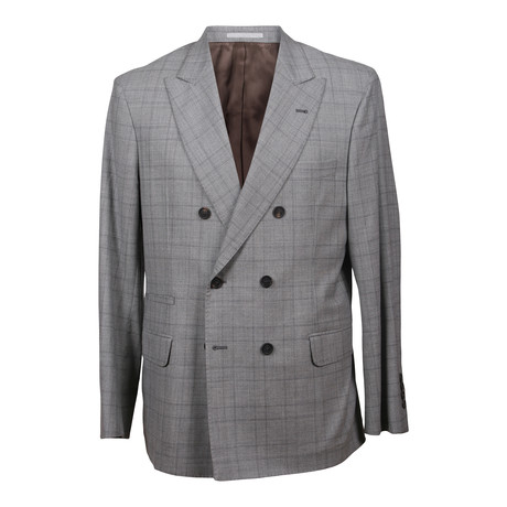 Wool Plaid Suit // Light Gray (Euro: 48)
