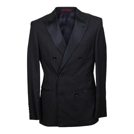 Double Breasted Tuxedo Suit // Black (Euro: 48)