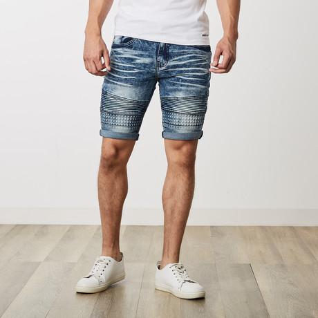Roll Up Moto Shorts + Emboss // Blue (30)