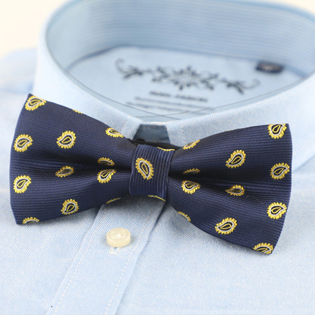 Silk Bow Tie // Royal Blue + Gold Accents