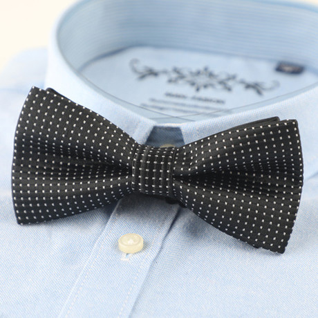 Silk Bow Tie // Black Mini Polka Dot