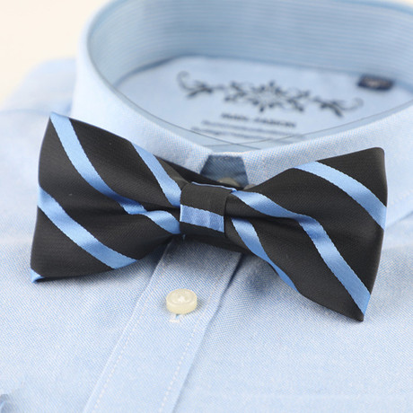 Silk Bow Tie // Black + Blue Stripe