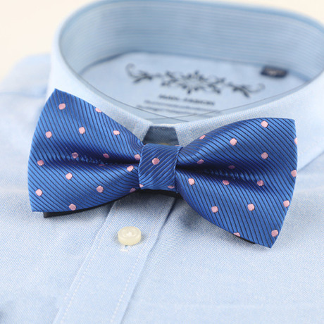 Silk Bow Tie // Blue + Pink Polka Dot