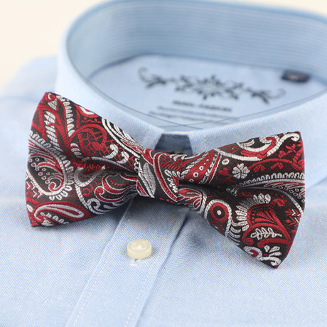Silk Bow Tie // Red + Gray Paisley