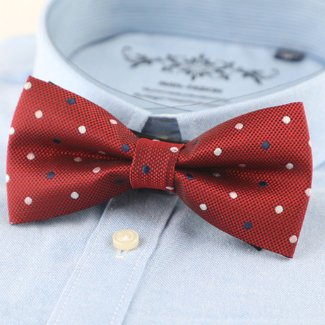 Silk Bow Tie // Dark Red Polka Dot