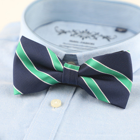 Silk Bow Tie // Navy + Lime Stripe