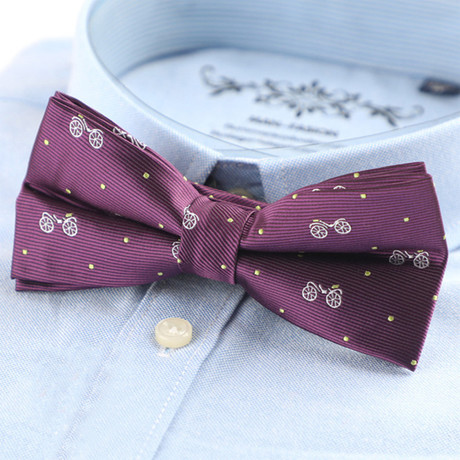 Silk Bow Tie // Purple Bicycle