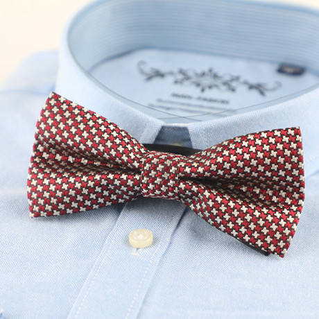 Silk Bow Tie // Red + White Houndstooth