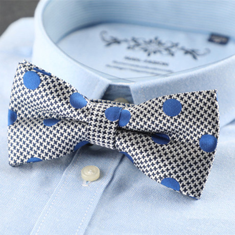 Silk Bow Tie // Gray + Blue Polka Design