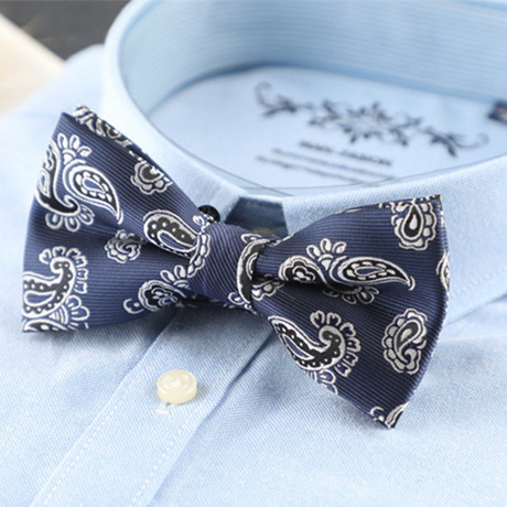 Silk Bow Tie // Blue + Gray