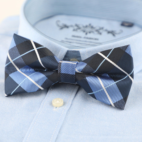 Silk Bow Tie // Blue Cross Stripe