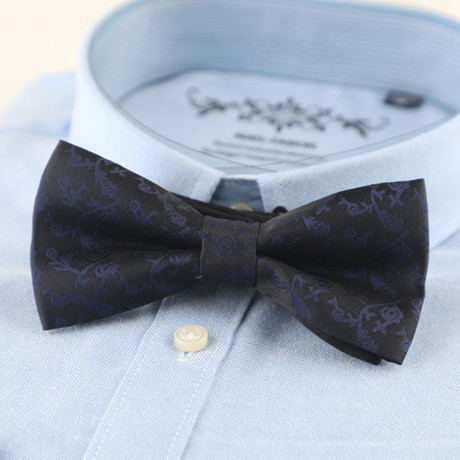 Silk Bow Tie // Black + Blue
