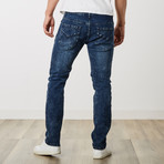 Men's Distressed Dark Wash Jeans // Dark Blue (32WX32L)