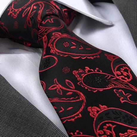 Bernard Silk Tie // Red + Black Paisley