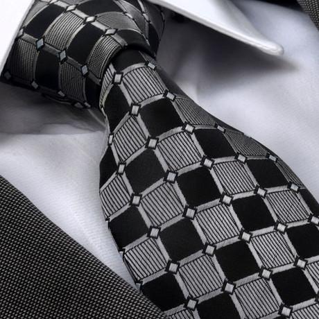 Abdul Silk Tie // Gray + Black Squares